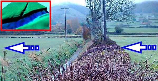 All floodplain hedgerows could be developed to 3m width -  top left insert illustrates core lidar elevation data